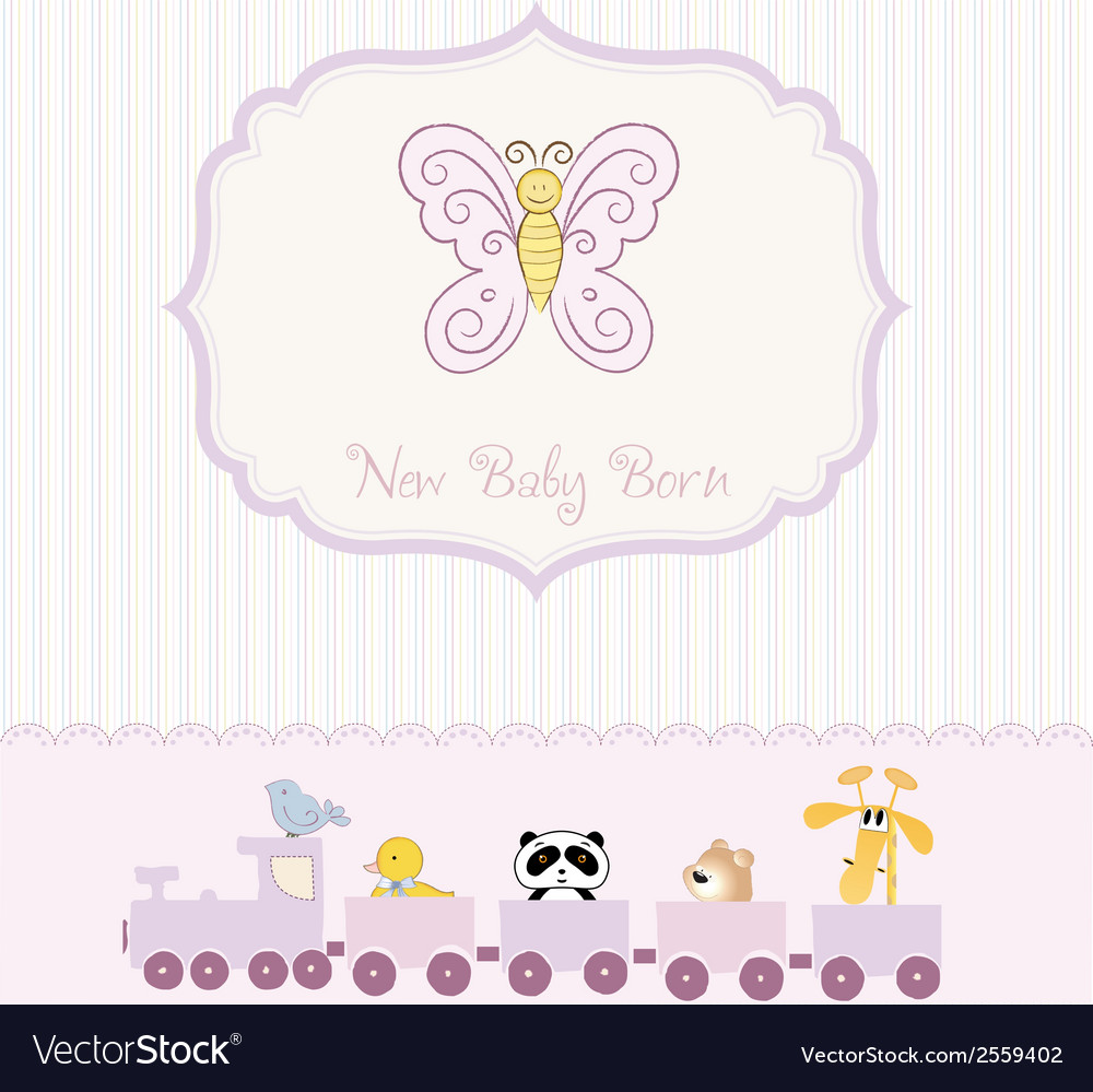 Cute baby shower card with butterfly vector   Price: 1 Credit (USD $1)