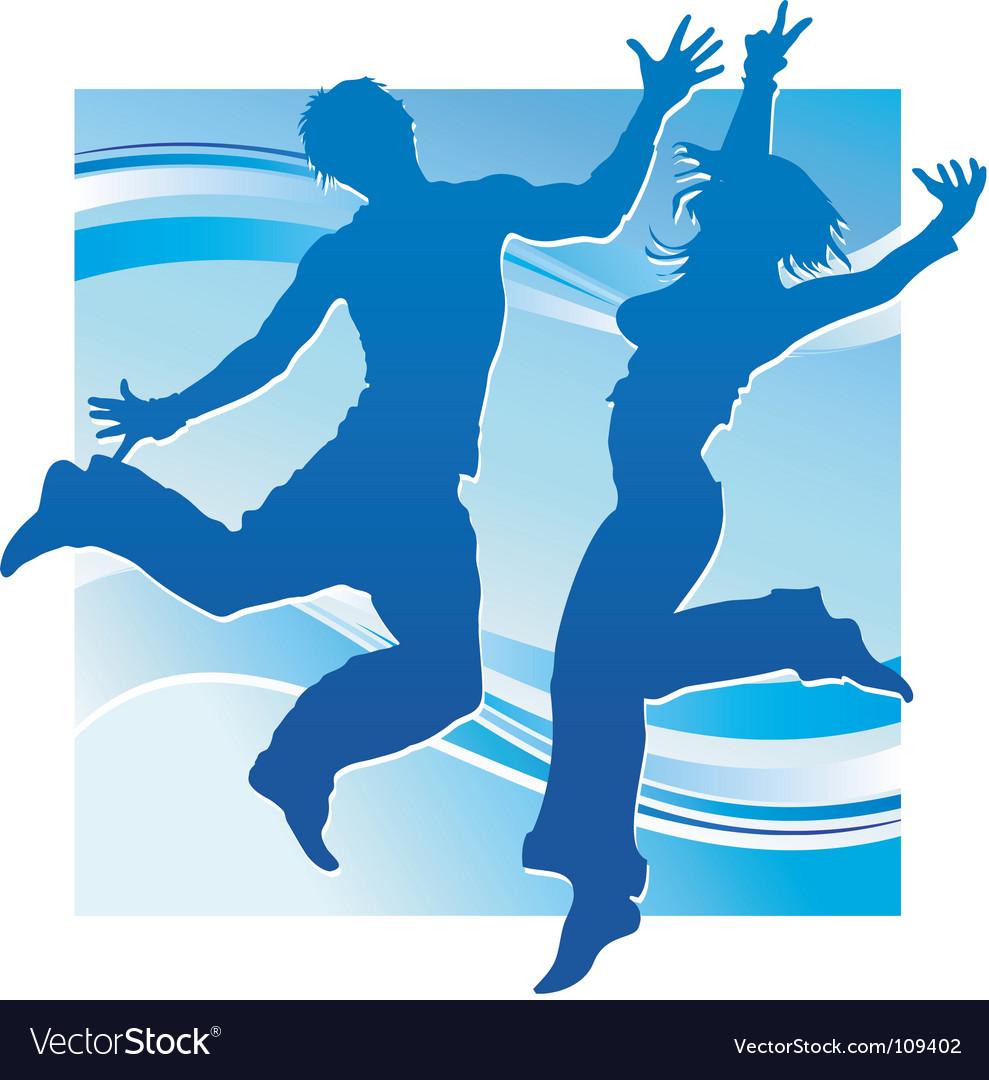 Dancing people in blue vector | Price: 1 Credit (USD $1)