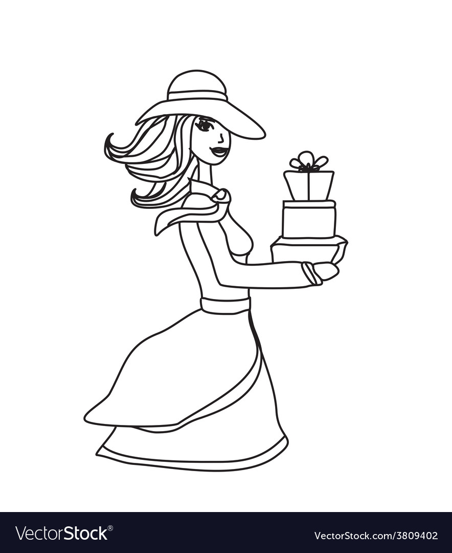 Fashion shopping girl with shopping bags and gift vector   Price: 1 Credit (USD $1)