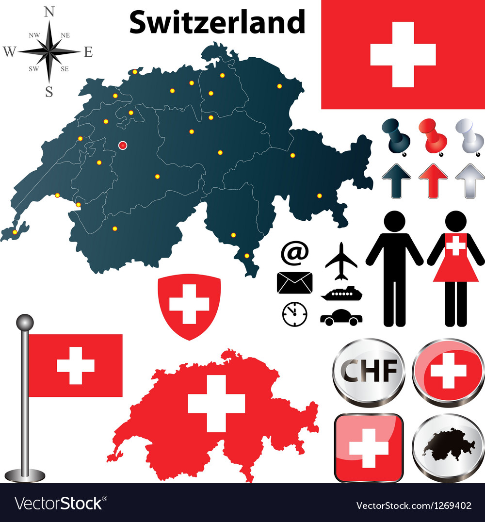 Map of switzerland with regions vector | Price: 1 Credit (USD $1)