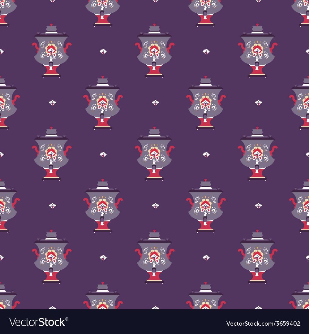 Russian tea pot symbol seamless pattern vector | Price: 1 Credit (USD $1)