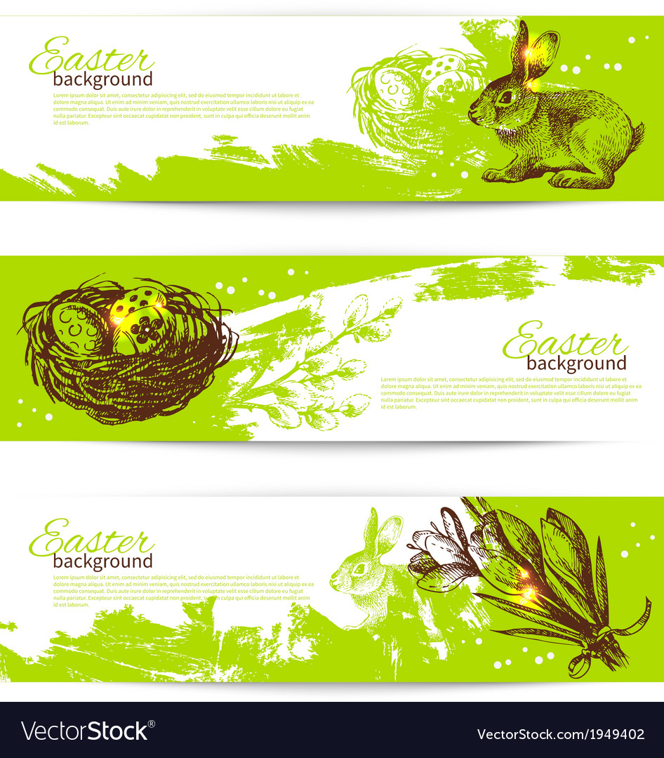 Set of vintage easter banners vector | Price: 1 Credit (USD $1)