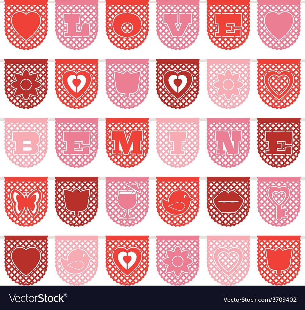 Valentine paper bunting vector | Price: 1 Credit (USD $1)
