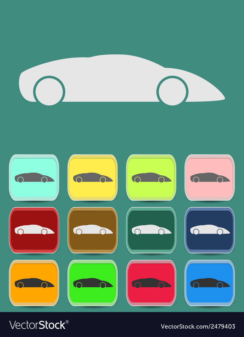 Automobile icon with color variations vector | Price: 1 Credit (USD $1)