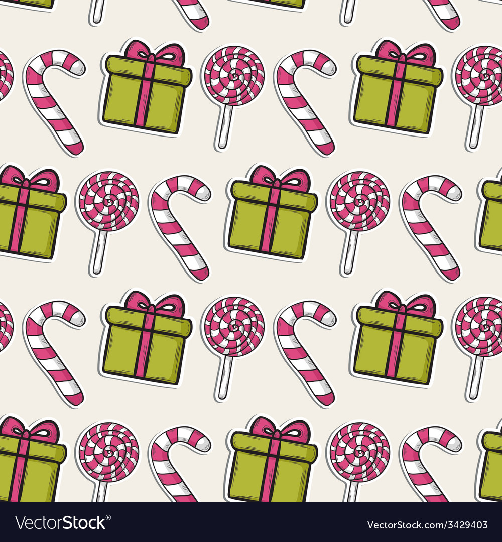 Christmas pattern with pink candy and gifts vector | Price: 1 Credit (USD $1)