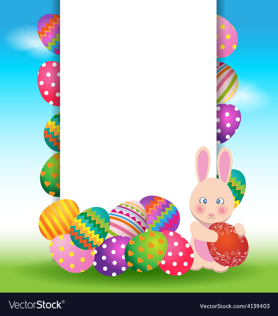 Colorful eggs and bunny for easter day greeting vector