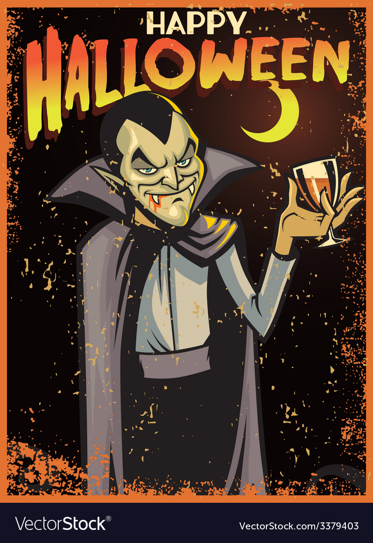 Halloween greeting card with dracula vector | Price: 3 Credit (USD $3)