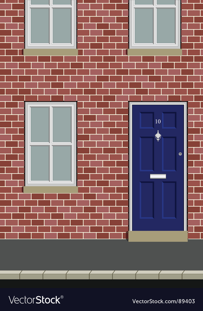 House on street vector | Price: 1 Credit (USD $1)
