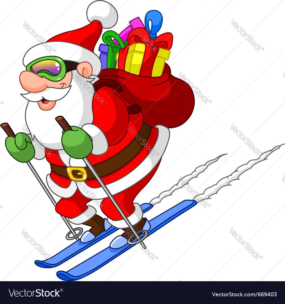 Skiing santa vector   Price: 1 Credit (USD $1)