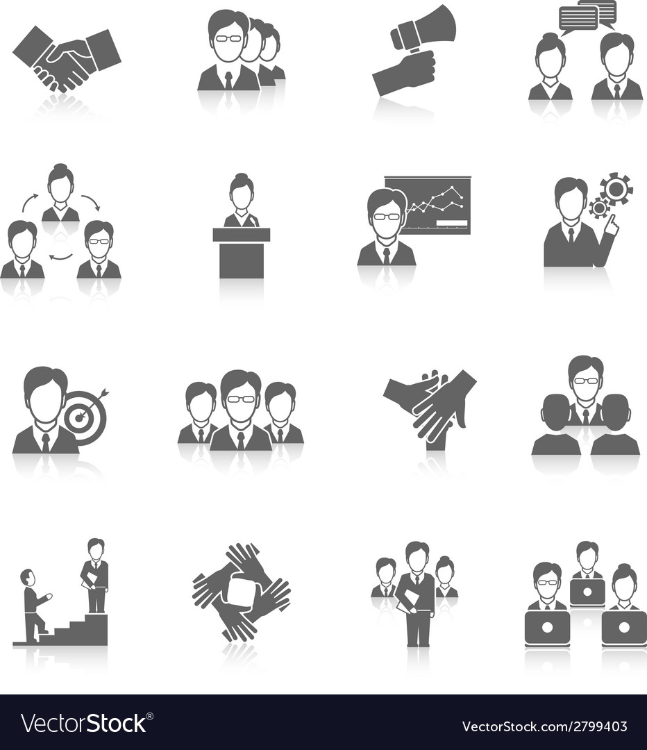Teamwork icons black vector | Price: 1 Credit (USD $1)