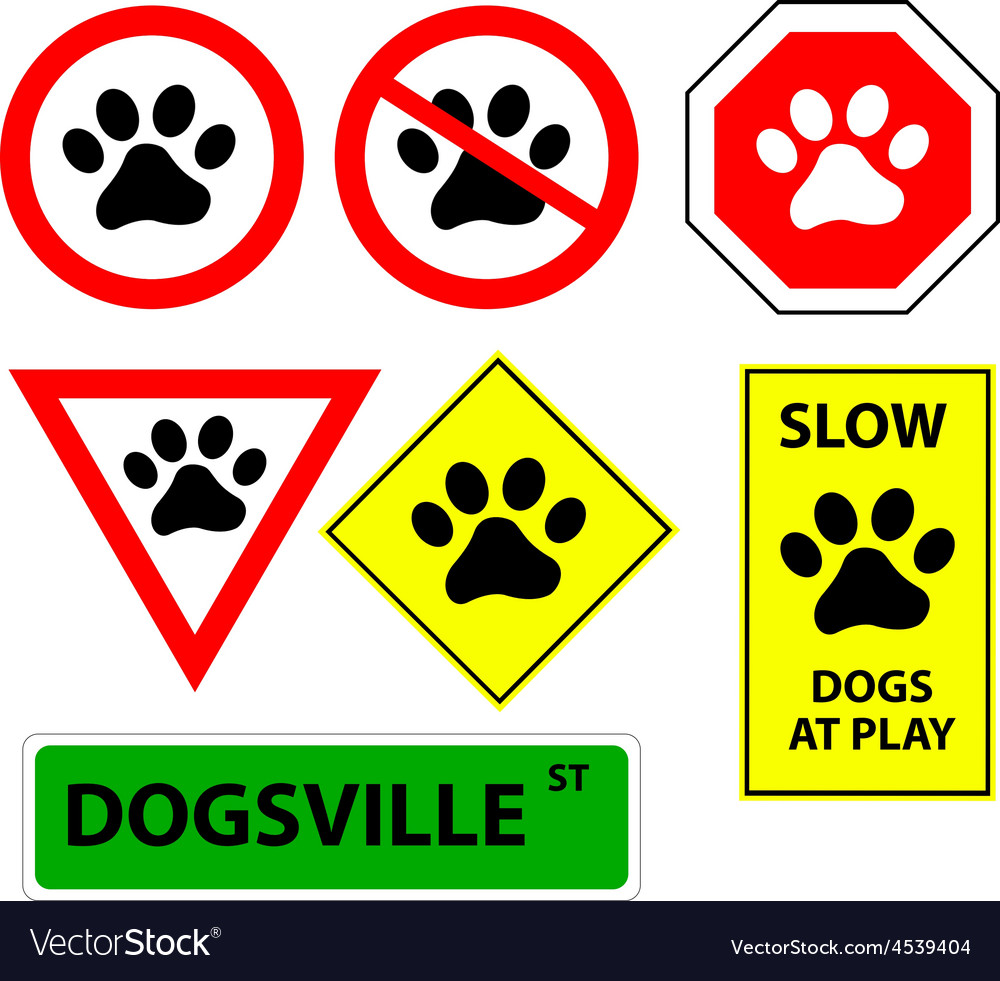 7 dog paw signs vector | Price: 1 Credit (USD $1)