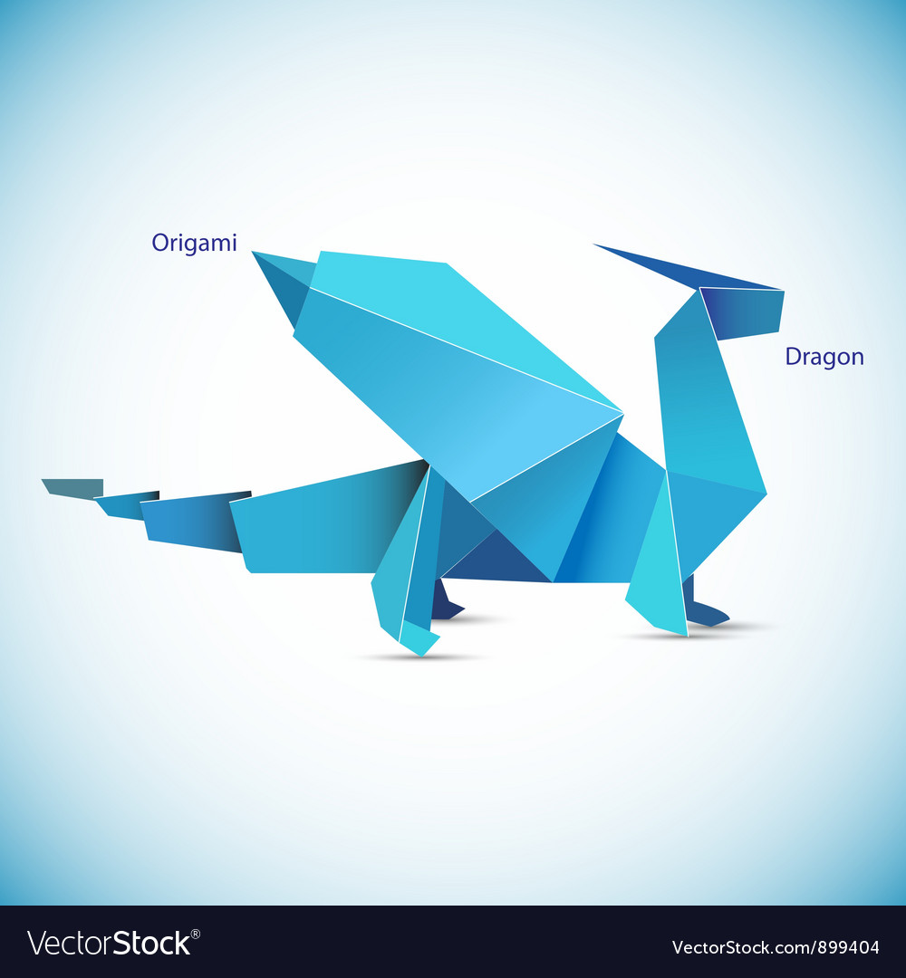 A blue origami dragon figure vector | Price: 1 Credit (USD $1)