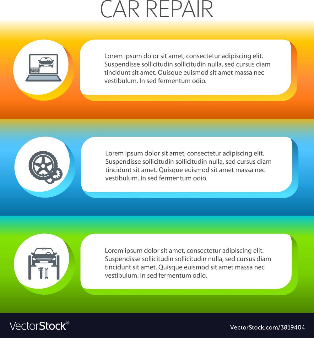 Car repair service horizontal banner set vector | Price: 1 Credit (USD $1)