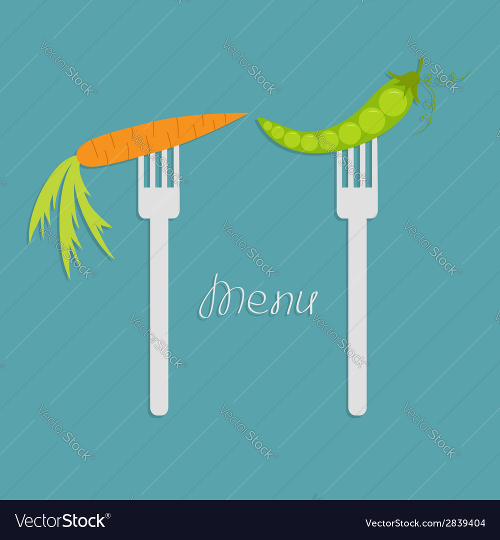 Carrot and green pea on fork diet concept menu vector | Price: 1 Credit (USD $1)