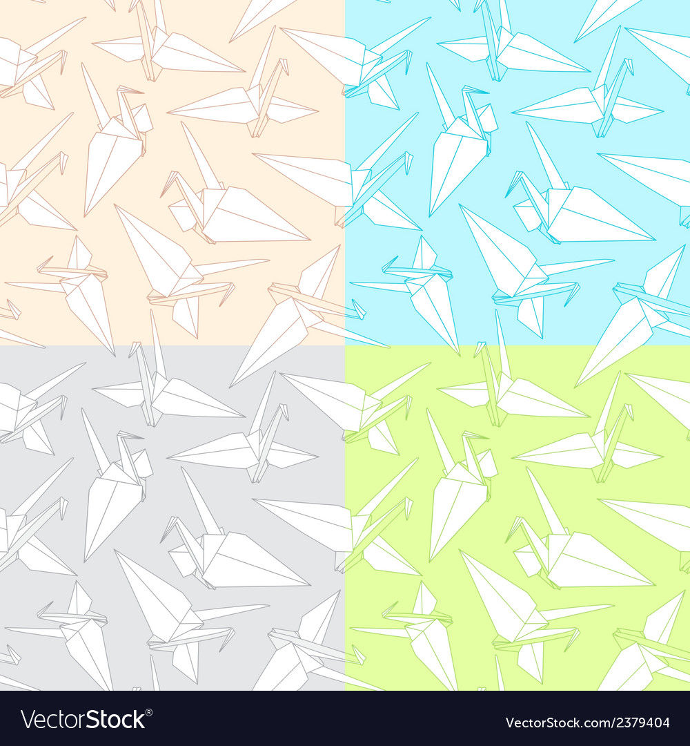 Different patterns with origami paper cranes vector | Price: 1 Credit (USD $1)