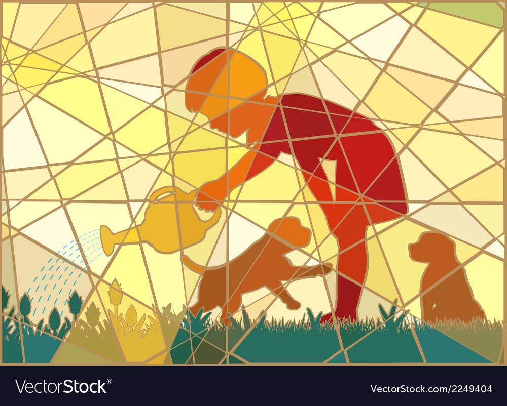 Gardening girl mosaic vector   Price: 1 Credit (USD $1)