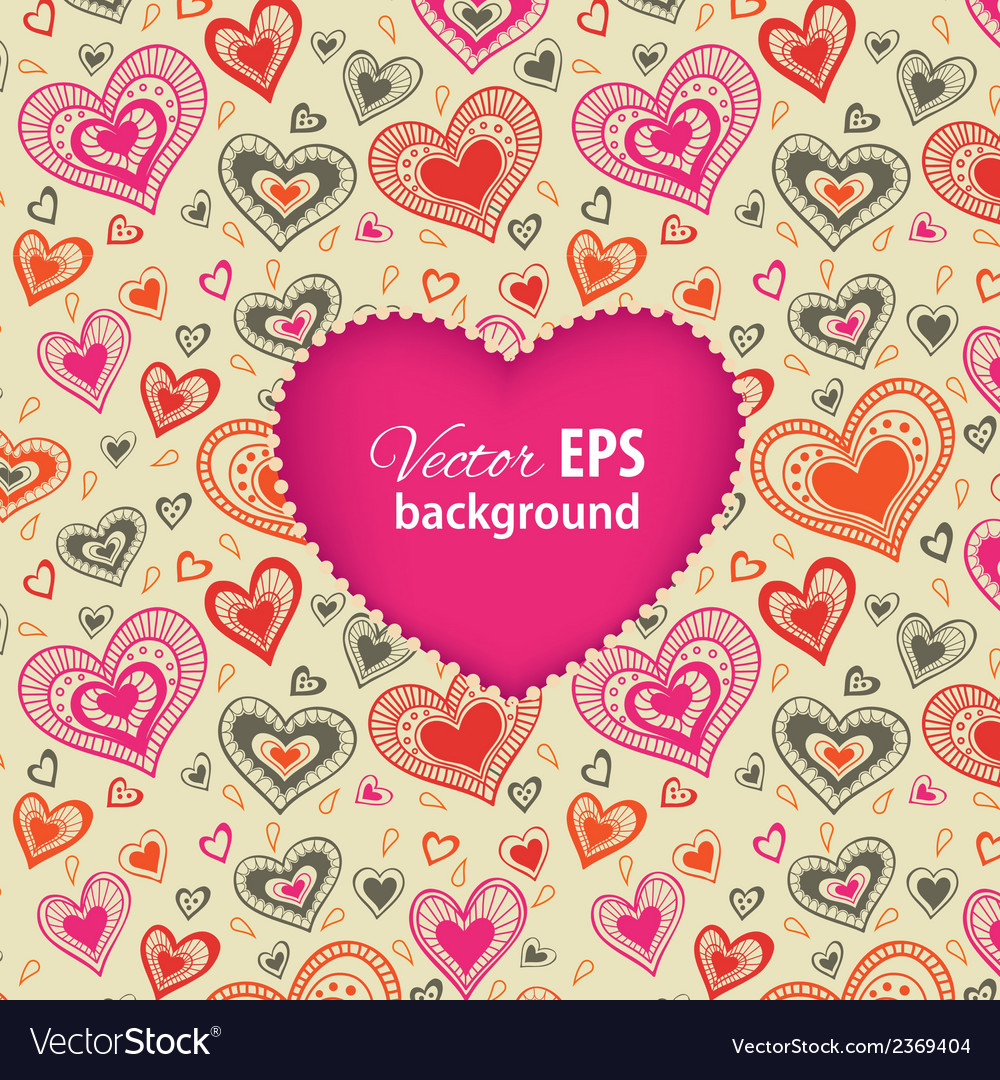 Happy valentines day card with pink heart vector | Price: 1 Credit (USD $1)
