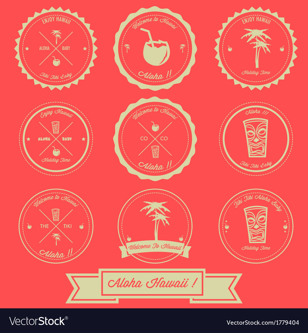 Hawaii holiday vintage label design vector | Price: 1 Credit (USD $1)