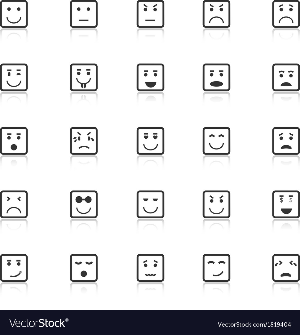 Square face icons with reflect on white background vector | Price: 1 Credit (USD $1)