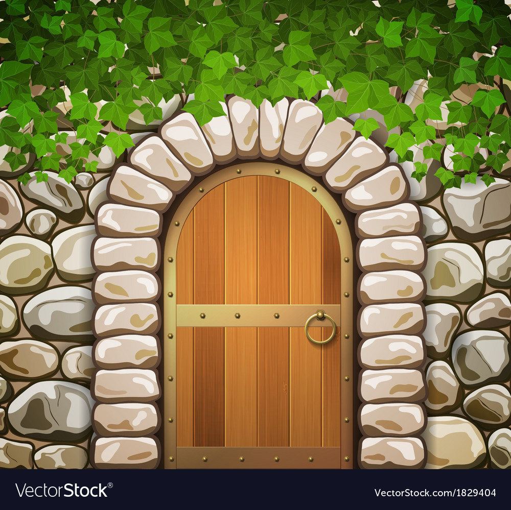 Stone wall with arch and leaves vector | Price: 1 Credit (USD $1)