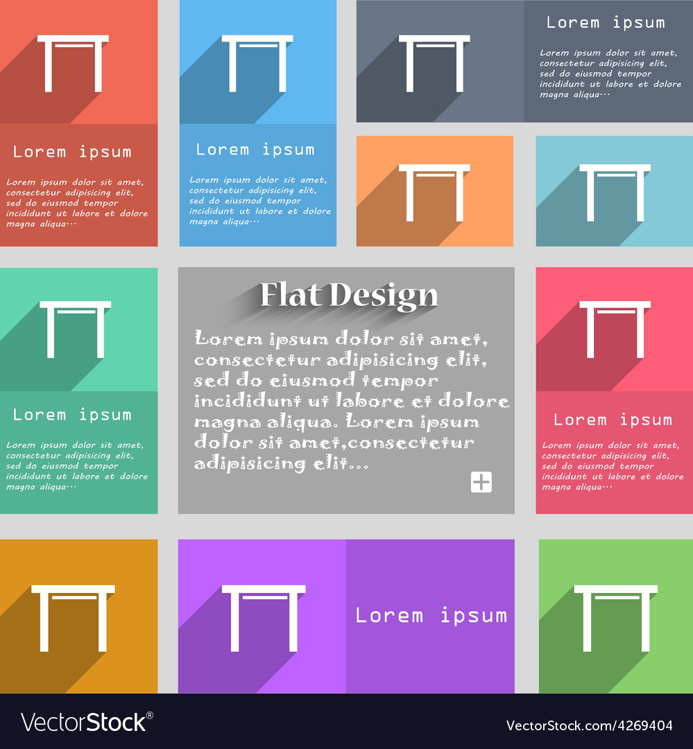 Stool seat icon sign set of multicolored buttons vector | Price: 1 Credit (USD $1)