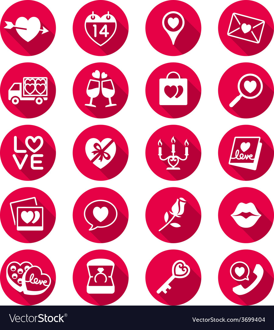 Valentines day flat color icons vector   Price: 1 Credit (USD $1)