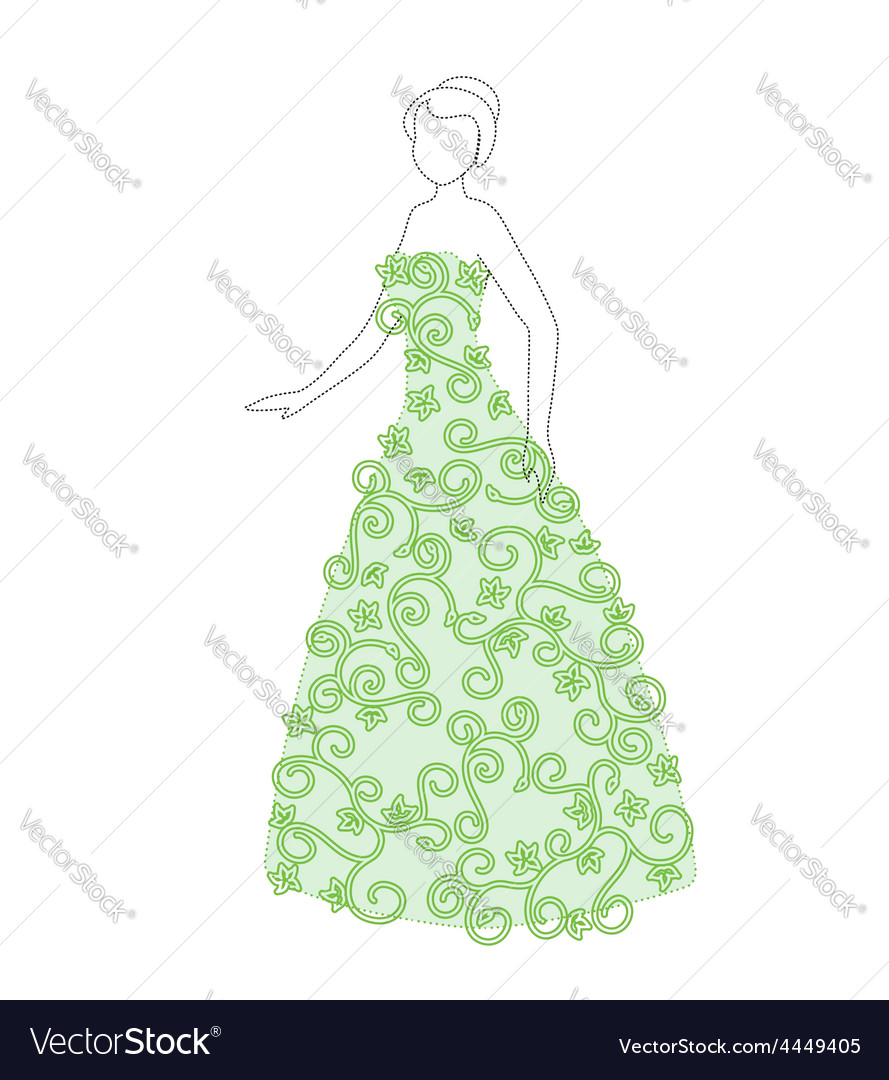 Beautiful woman in floral dress - fashion vector | Price: 1 Credit (USD $1)