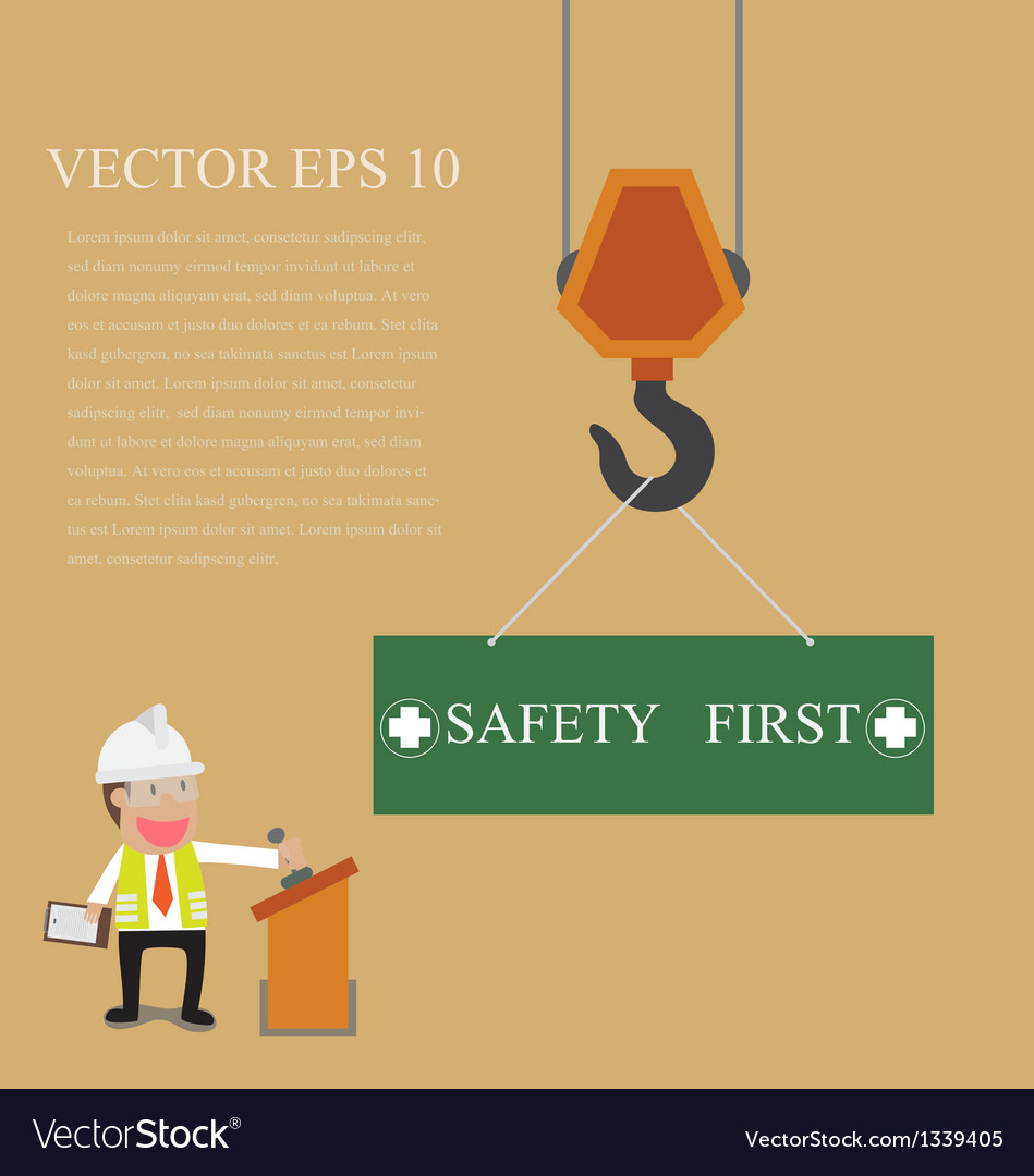 Businessman control crane hanging with safety sign vector | Price: 1 Credit (USD $1)