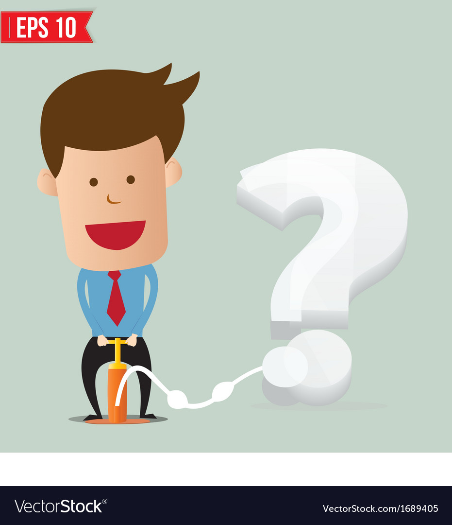 Cartoon business man pumping question balloon vector | Price: 1 Credit (USD $1)