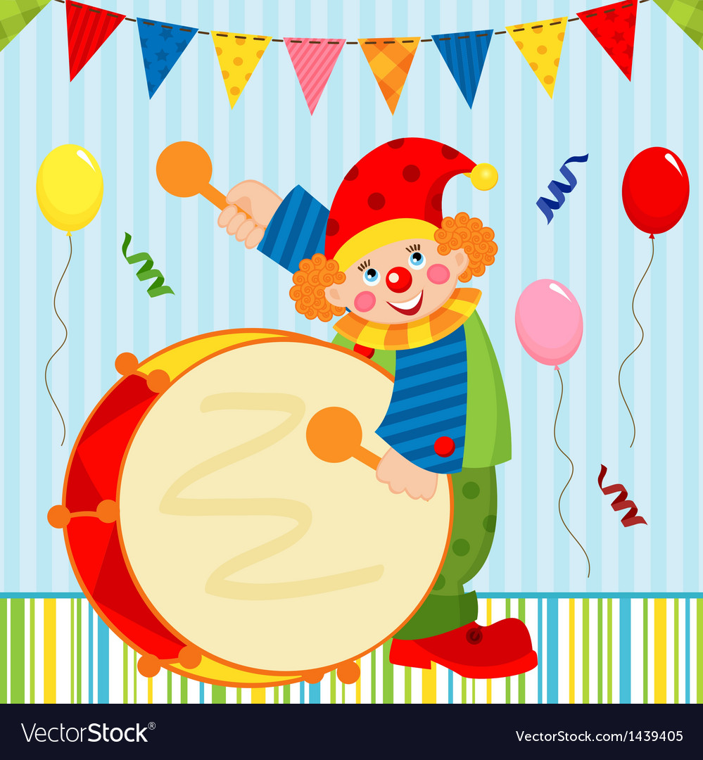 Clown playing the drum vector | Price: 3 Credit (USD $3)