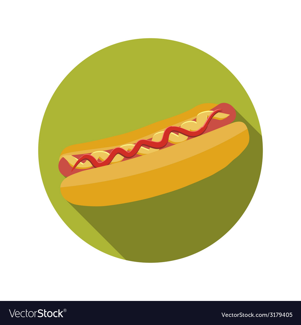 Flat design concept hot dog with long shadow vector | Price: 1 Credit (USD $1)