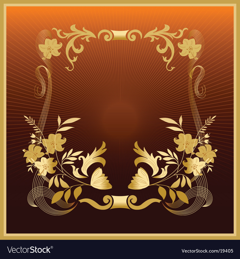 Golden floral frame vector | Price: 1 Credit (USD $1)