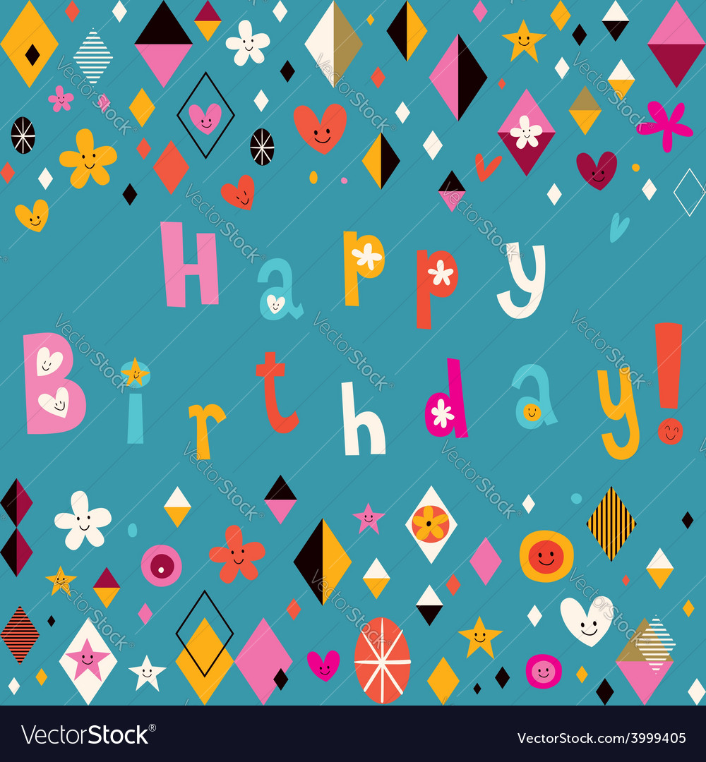Happy birthday retro card vector | Price: 1 Credit (USD $1)