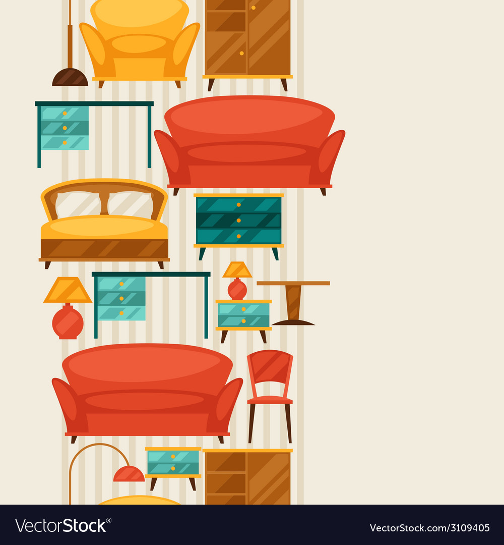 Interior seamless pattern with furniture in retro vector | Price: 1 Credit (USD $1)