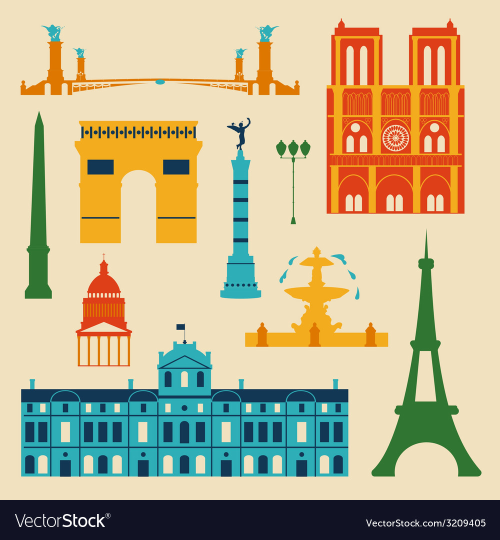 Landmarks of france vector | Price: 1 Credit (USD $1)
