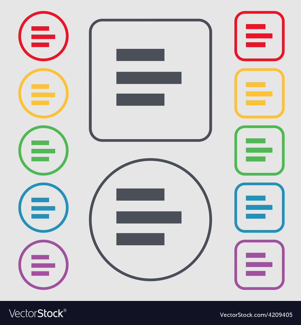 Left-aligned icon sign symbol on the round and vector | Price: 1 Credit (USD $1)