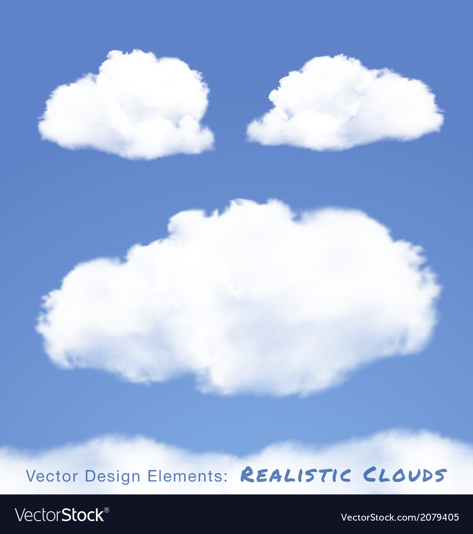 Realistic clouds on blue sky vector | Price: 1 Credit (USD $1)