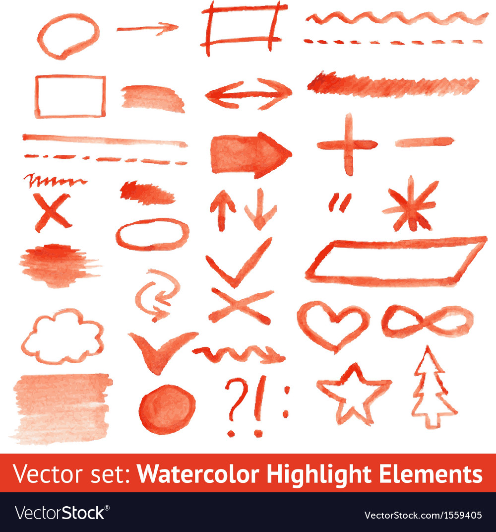 Set of red watercolor highlight elements vector | Price: 1 Credit (USD $1)