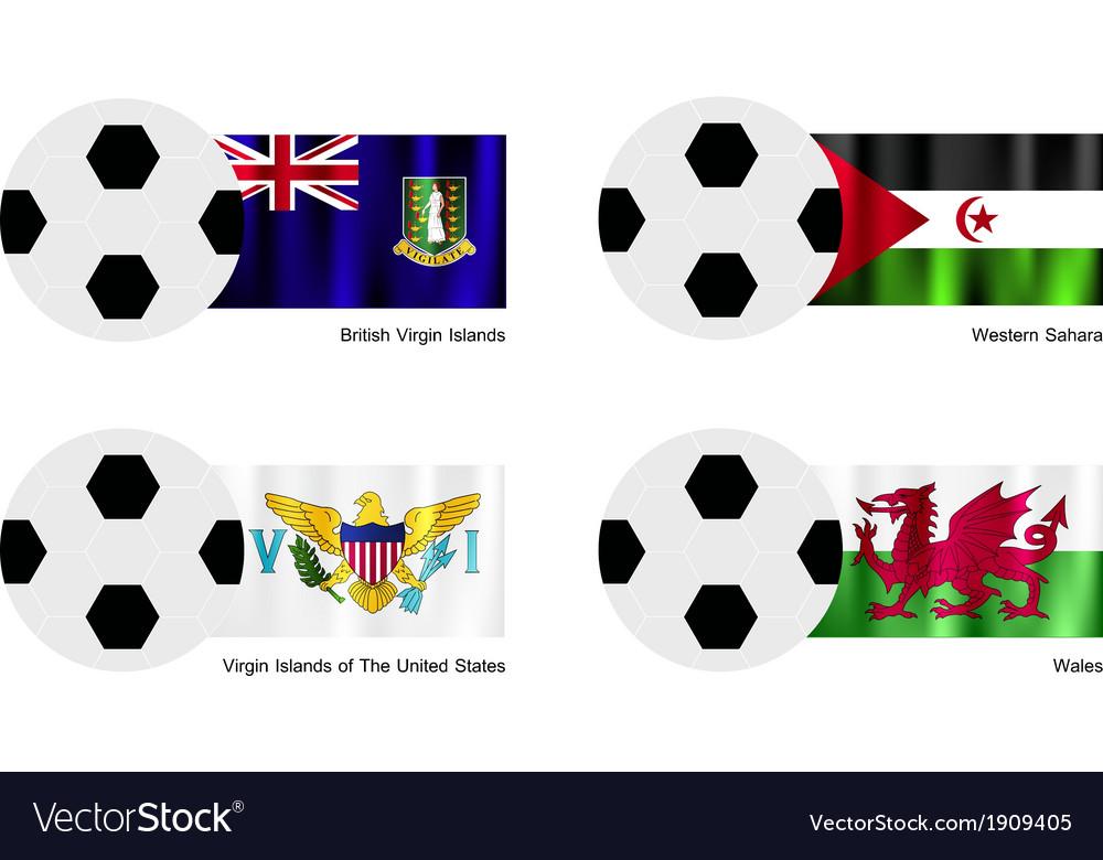 Soccer ball of virgin islands western sahara vector | Price: 1 Credit (USD $1)