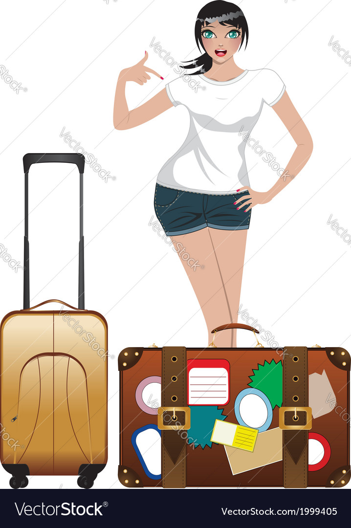Traveling girl2 vector   Price: 1 Credit (USD $1)