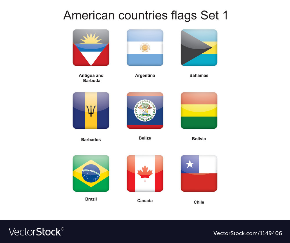 American countries flags set 1 vector | Price: 1 Credit (USD $1)