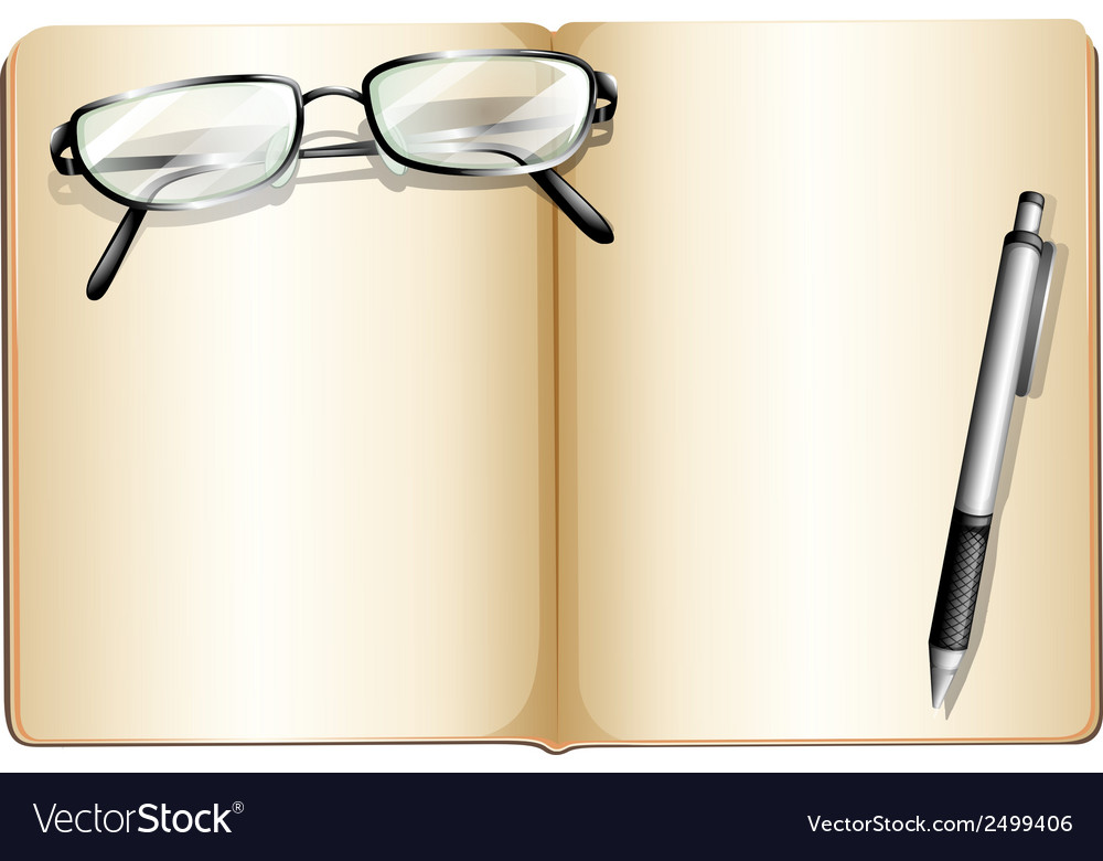 An empty book with an eyeglass and a ballpen vector | Price: 1 Credit (USD $1)