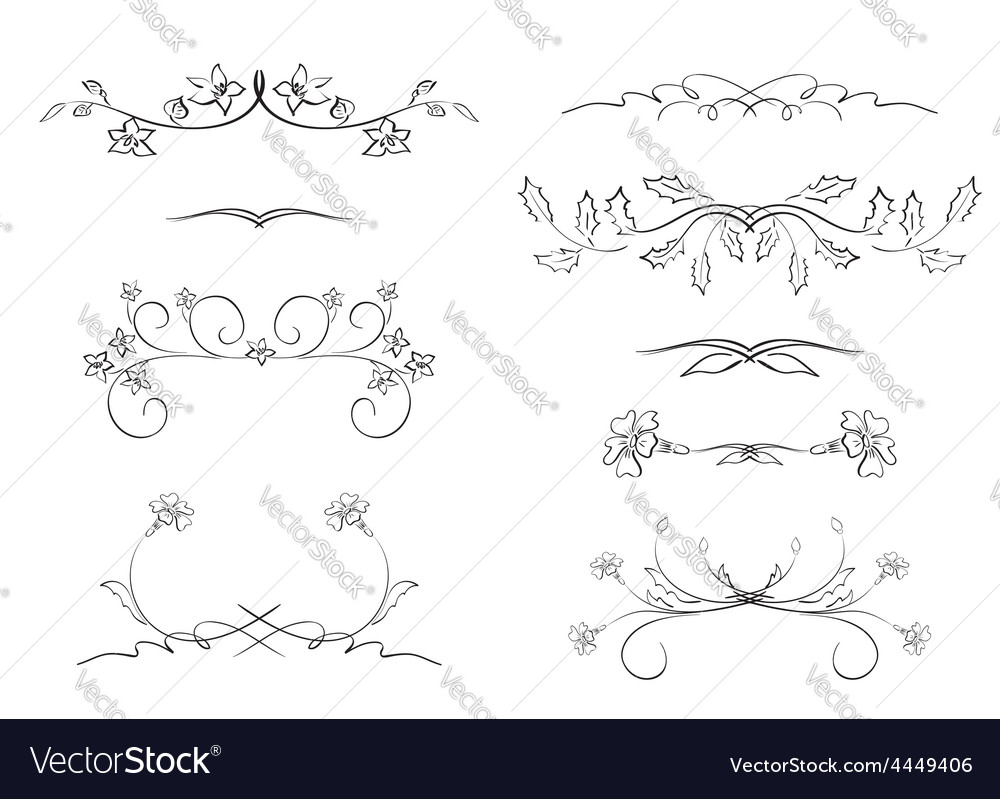 Black floral dividers - set vector | Price: 1 Credit (USD $1)