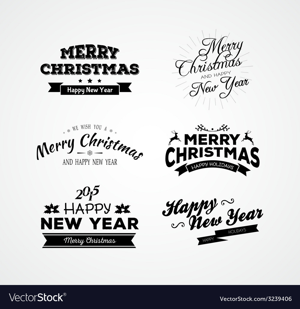 Christmas and new year calligraphy set vector | Price: 1 Credit (USD $1)