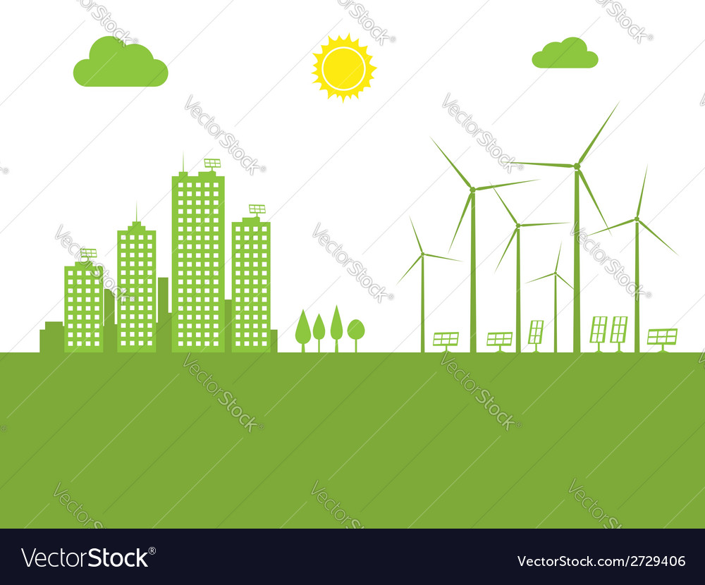 Cityscape ecology vector | Price: 1 Credit (USD $1)