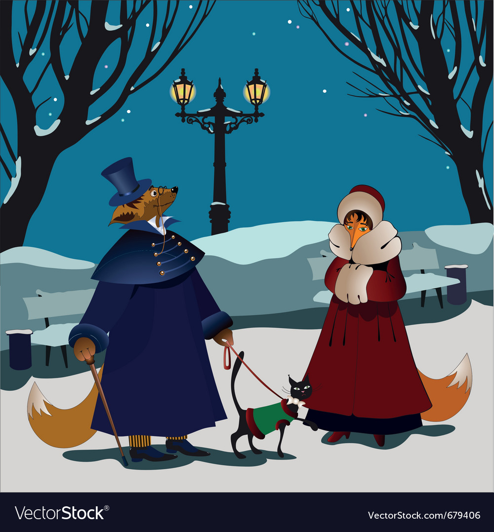 Foxes winter vector | Price: 5 Credit (USD $5)