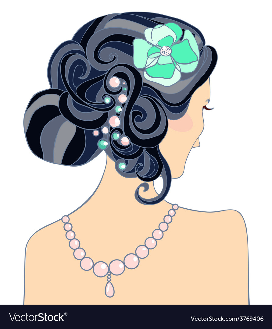 Theblackhairedgirlwithweddinghairstyle vector | Price: 1 Credit (USD $1)