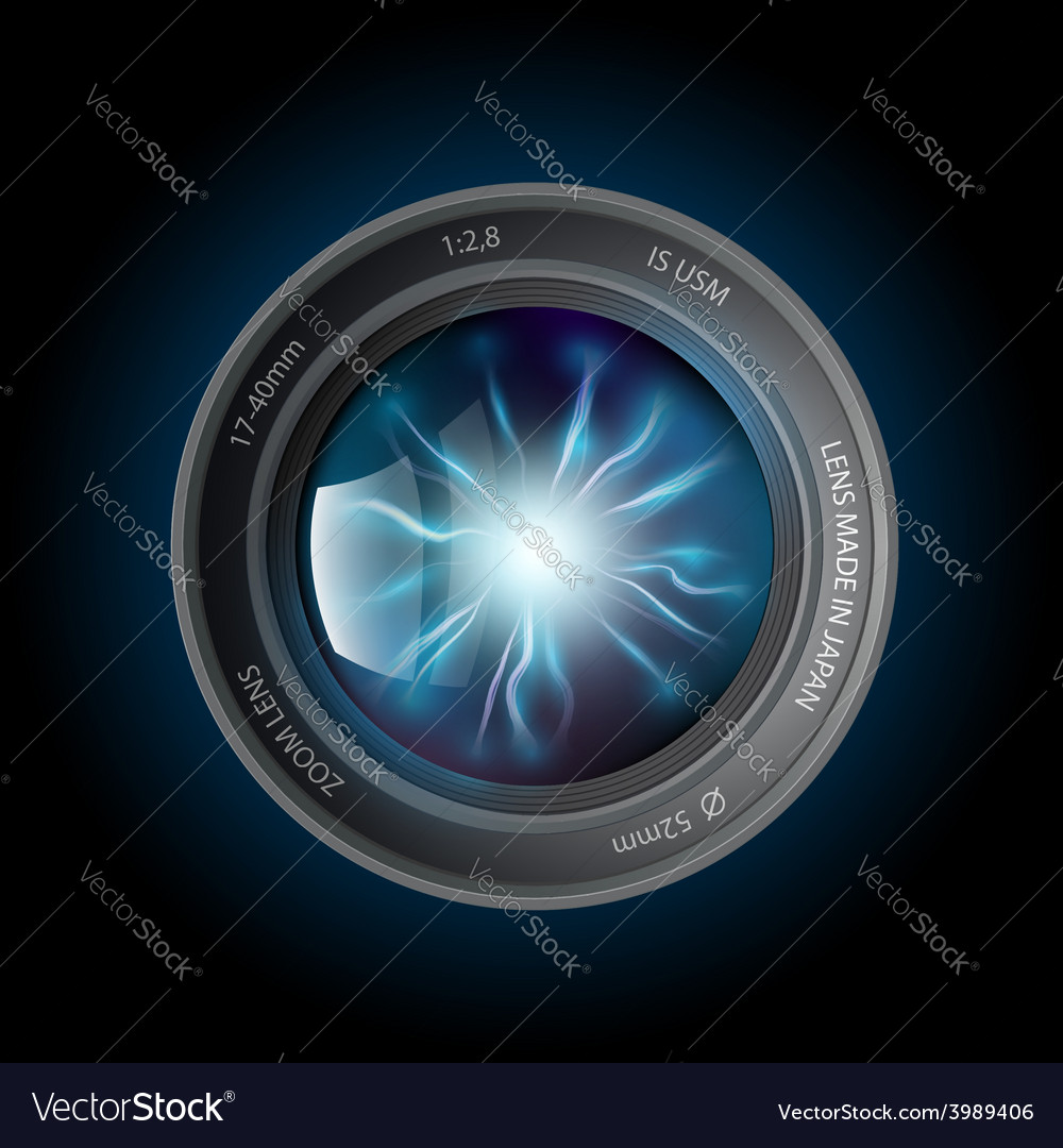 Lightning discharges inside the camera lens vector | Price: 1 Credit (USD $1)
