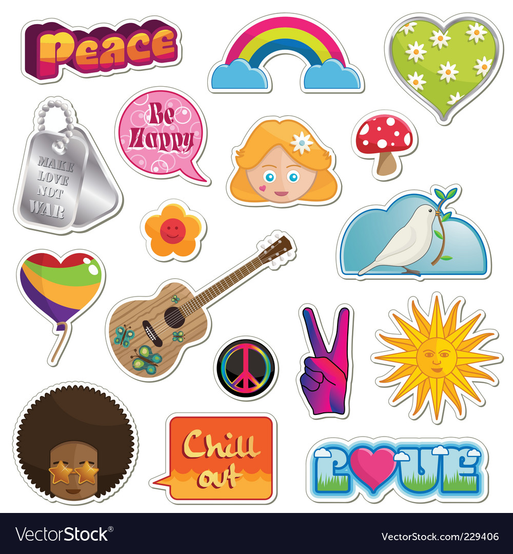 Peace and love stickers vector | Price: 3 Credit (USD $3)