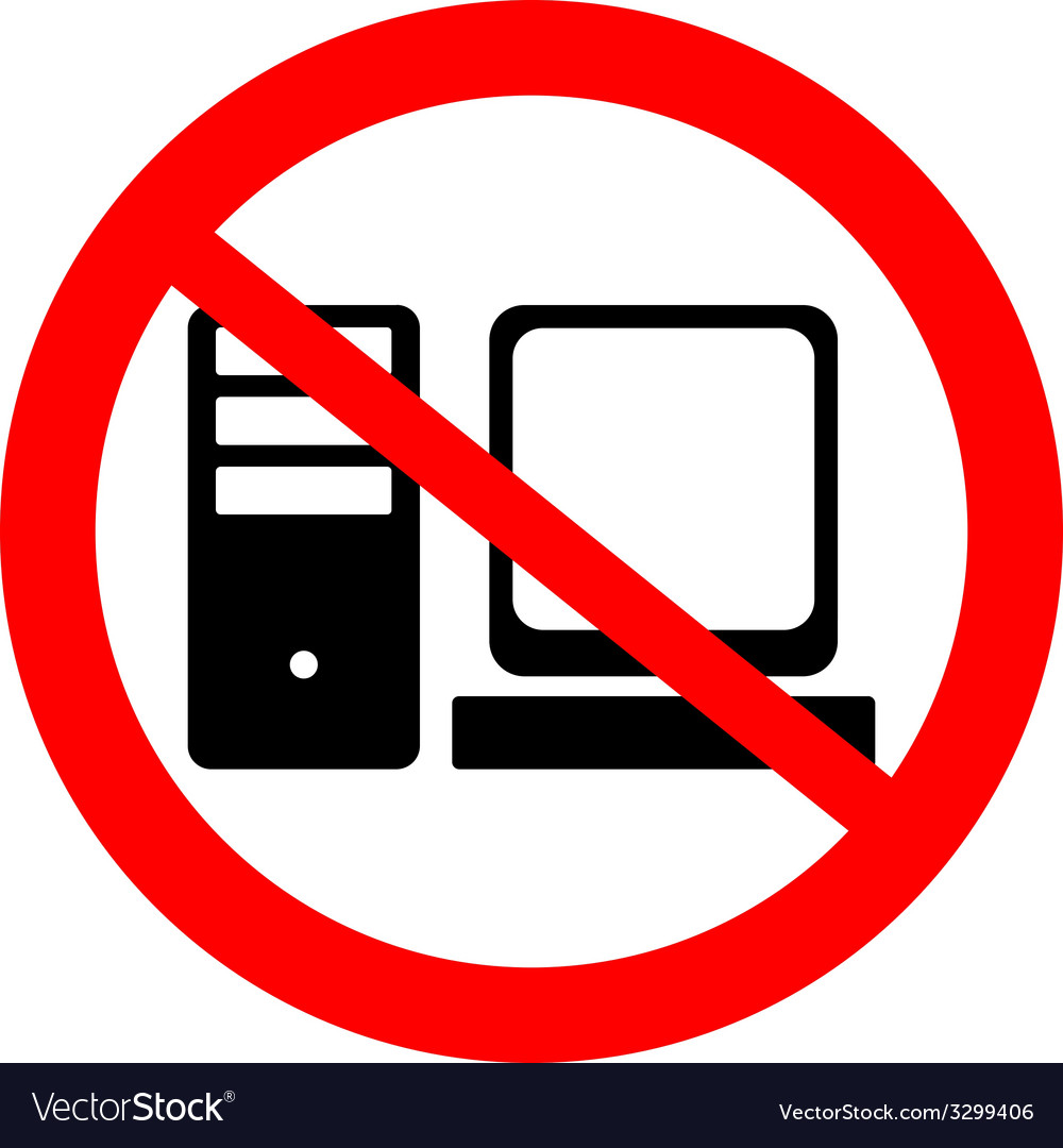 Prohibitory sign with computer icon vector   Price: 1 Credit (USD $1)
